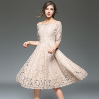 Szydełka hollow lace suknie zipper moda bez ramiączek slash collar big swing sukienka gorąca sprzedaż Wysokiej Jakości Elegancki Party Dress