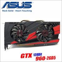 Оригинальный ASUS GTX960-DC2OC-2GD5 Видеокарта GTX 960 2 GB 128Bit GDDR5 Графика карты для nVIDIA Geforce Hdmi Dvi игры GTX960