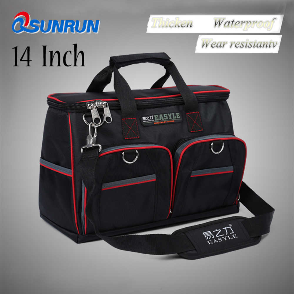 "YZL 14"" Tool Bags 1860D  Close Top Wide Mouth Electrical Bags Multifunction Tool Bags With Parts Box"