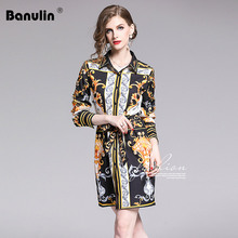 Banulin Runway Fashion Designer Spring Summer Dresses Womens Long Sleeve Gorgeous Printed Belted Dress Slim Mini Shirt