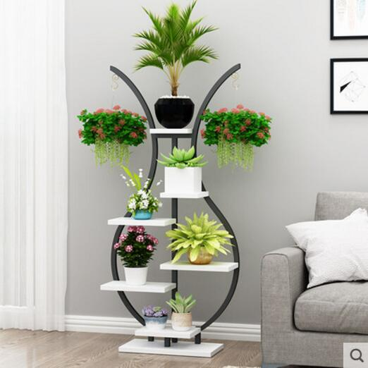Floral flower shelf balcony living room simple decorative vase indoor pot rack