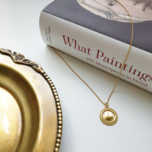 купить 24K Gold Coated S925 Silver Round And Square Rose Relief Coin Necklace Retro Pendant Choker For Women 925 necklace with coins дешево