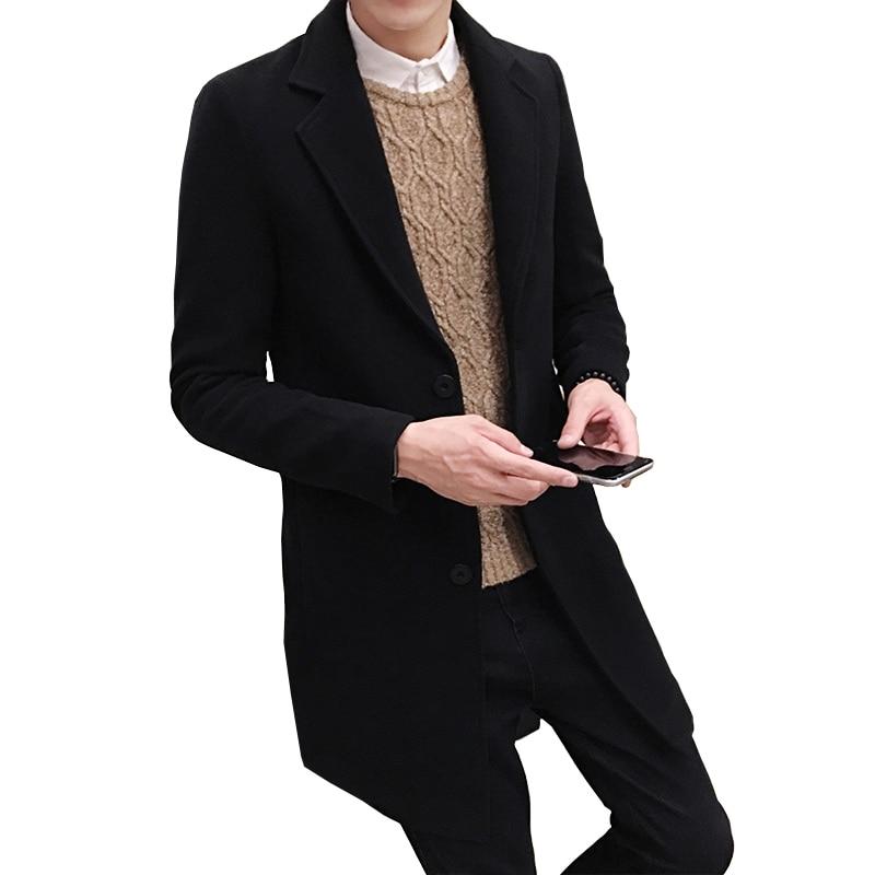 2019 Новая зимняя мужская шерстяная куртка для отдыха, длинные шерстяные пальто, мужские однотонные повседневные модные куртки/повседневные мужские пальто