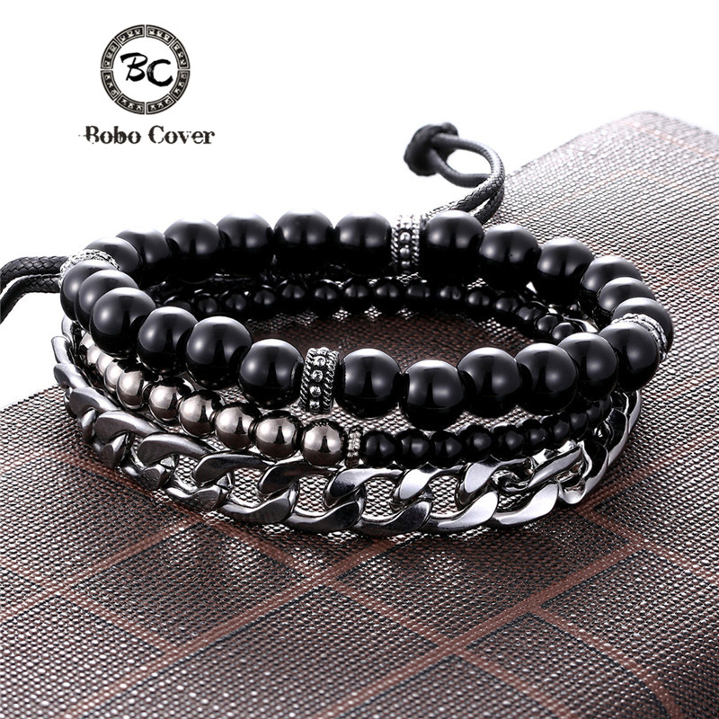 1 <font><b>Set</b></font> 3PCS Multi-layer Leather Beaded Charm <font><b>Bracelet</b></font> Women Stainless Steel Link Chain Men's Couple <font><b>Bracelets</b></font> Dropshipping homme image
