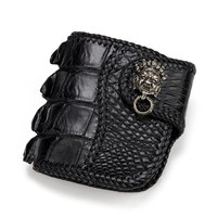Handmade Knitting Men Genuine Leather Alligator Wallets Black Bag Purses Short Vegetable Tanned Leather Wallet Christmas Gifts