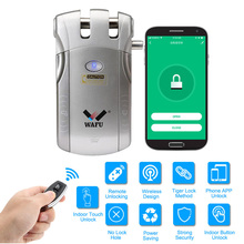 WAFU 010W Wireless WIFI Smart Door Lock Keyless Entry Electronic Door Lock APP Remote Unlock With 4 Remote Keys wireless remote control electronic door lock invisible keyless entry door lock with 4 remote controllers security door lock