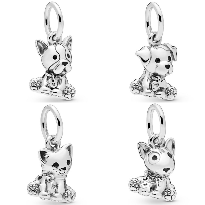 Bull Terrier chiot Labrador chiot bouledogue français chiot doux chat perles Fit Bracelet Pandora 925 bijoux en argent Sterling charme