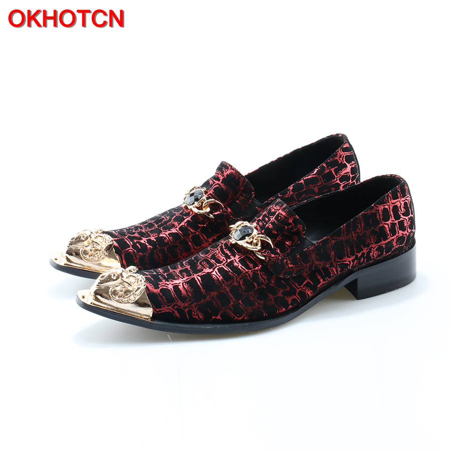 OKHOTCN Chaussure Homme Italian Shoes Men Velet Print Leather Red Wedding Shoes Dress Slippers Metal Pointed Toe Mens Suit Shoes fashion skull print mens top leather dress shoes designer elevator wedding shoes for men business oxfords chaussure homme