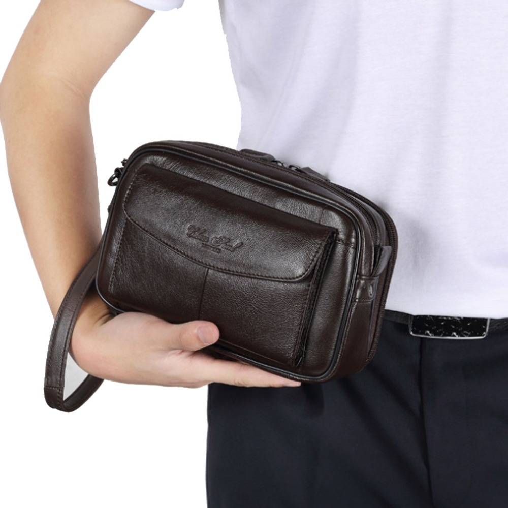 Men Vintage Leather Cowhide Clutch Bag Business Luxury