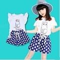 Новые девушки летние футболки дети печати кошка жилет одежда топы дети шорты девушки шорты девушки одежда
