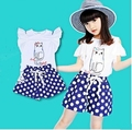New girls summer t shirts children printing cat vest clothes kids tops kids shorts girls shorts girls clothing