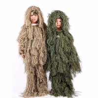 Kids Jungle Camouflage Hidden Clothes Tactical Army Fans Sniper Training Boy Girls Outdoor Camping Hiking Multicam Ghillie Suits