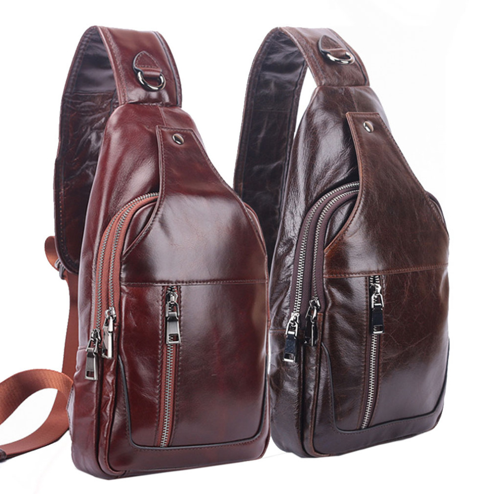 High Quality Men Oil Wax Genuine Leather Cowhide Travel Climb Sling Chest Pack Messenger Shoulder Cross Body Bag men high quality oil wax genuine leather cowhide messenger shoulder cross body bag travel vintage sling chest back day pack