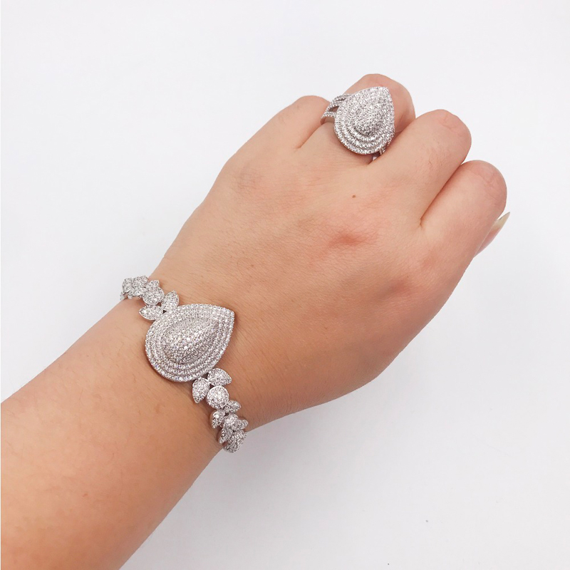 Hadiyana De Luxe Shinning Cubique Zircon 4 pièces Ensemble Bijoux Pour Femmes offre spéciale Collier et bracelet et boucles d'oreilles ensembles de bijoux CN289 - 2