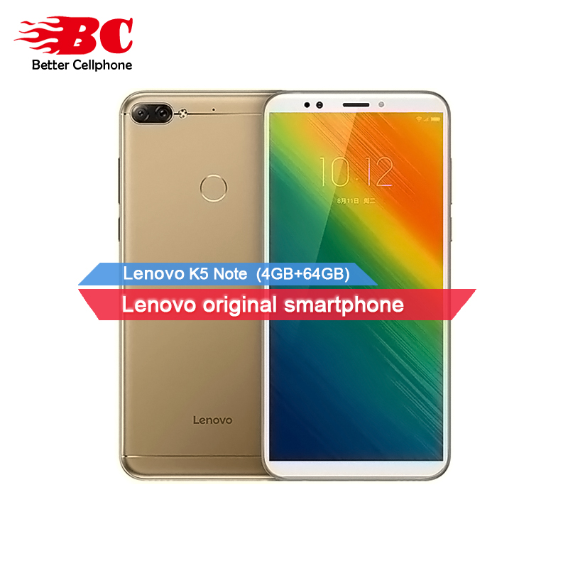Lenovo K5 Note Face d'empreintes digitales-ID 4g SmartPhone 4 gb RAM + 64 gb ROM Snapdragon 450 Octa -Core Double Caméra Arrière 16MP OTG 3760 mah GPS