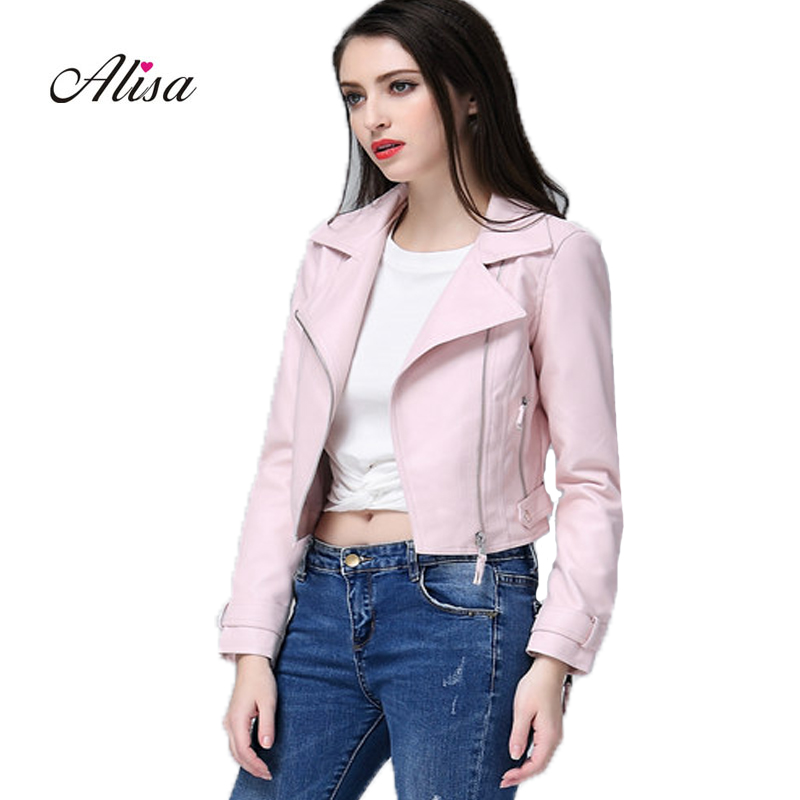 Spring Autumn Women Short Pink   Leather   Jacket 2018 Fashion Pu Long Sleeve Casual Punk   Leather   Jacket Moto Female Cheap Jacket
