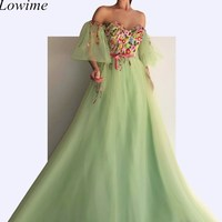 New Dubai Couture Fairy Celebrity Dresses 2019 A Line Sweetheart Off Shoulder Long Tulle Evening Prom Party Gowns Robe De Soiree