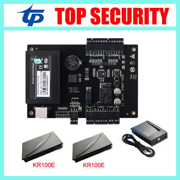 C3-100 access control panel with 2pcs KR100E card reader one door access control board TCP/IP communication door control system