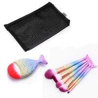 6pcs Mermaid Makeup Brush Kits 1pc Fish Brush Cosmetic Make Up Brushes Powder Concealer Foundation Brush