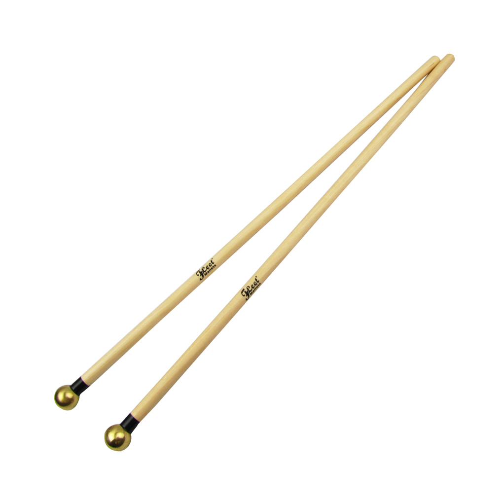 New 1 Pair Xylophone Mallets Sticks Glockenspiel Mallets Percussion Sticks Drumsticks Maple Handle Brass Head Drum Accessories