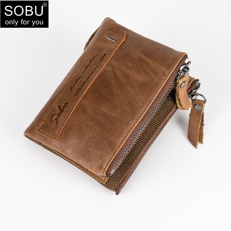 100% Genuine Leather Men Wallet Small Zipper Oil Wax Skin Wallet Short Coin Purse High Quality Designer L002 women fashion designer double zipper oil wax genuine leather wallet rfid blocking long purse day clutches for men high quality
