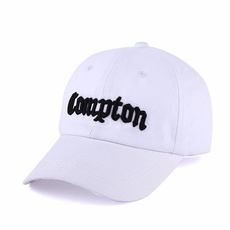 """Embroidered """"Compton"""" Adjustable Baseball Cap - White Cap with Black Lettering"""