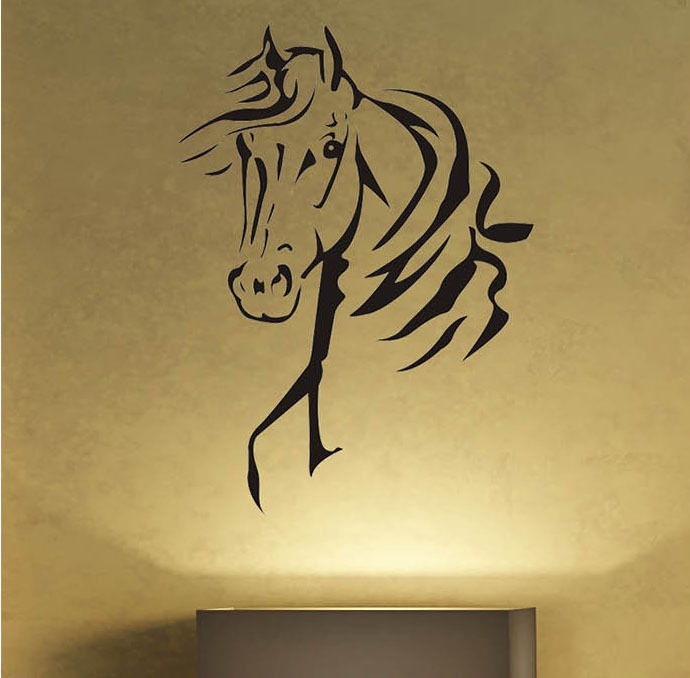 Removable Vinyl Wall Sticker Cool Horse Lovers Wall Decal Living ...