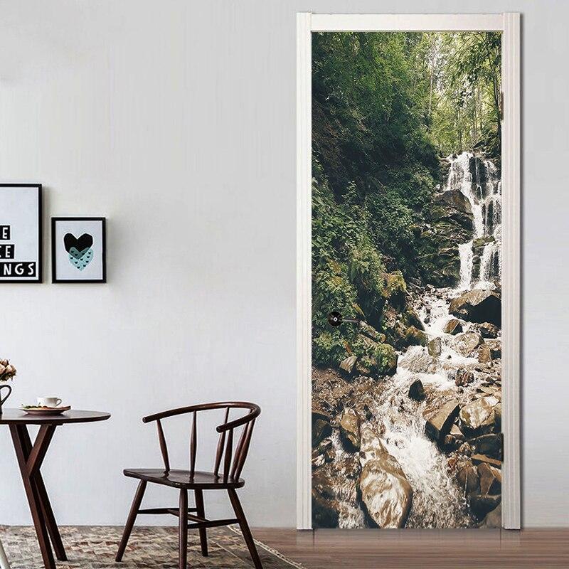 Creative Waterfalls Nature Wall Stickers DIY Mural Bedroom Poster PVC Waterproof Door Sticker Living Room Home Decor YMT031 in Wall Stickers from Home Garden