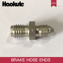 HAOKULE  AN3 3/8x24 UNF to M10x1.25 / M10x1.5 / M10x1.0 Male Bubble Flare Stainless Steel Brake Fittings INVERTED FLARE Adapter