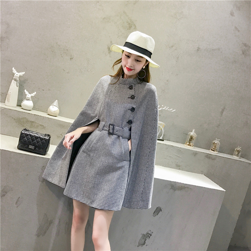 Fall fashion dress female 2018 new Korean temperament Houndstooth slim style dress Cape