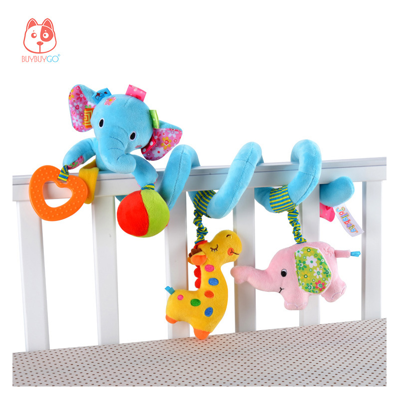 BUYBUYGO Crib Toys, Baby Animal Rattles & Teethers, Baby Intelligence Development, Interactive Toys, Grip, Hand-eye Coordination
