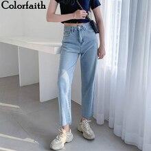 Colorfaith, женские повседневные Прямые джинсы, брюки с высокой талией, штаны для девушек, длина по щиколотку, P8828