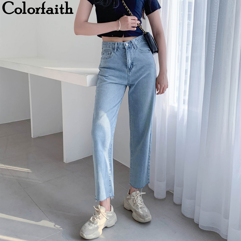 Colorfaith 2019 Women   Jeans   Casual Straight High Waist Trousers Pants for Ladies Grils Ankle Length P8828
