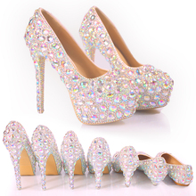 New wedding shoes Wedding dress bridal banquet crystal women color crystal shoes Princess high heels