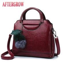 2019 Vintage Women Oil Wax Leather Handbags Shell Bag For Lady Shoulder Bags Metal Ring Handle bolsos mujer Female Messenger Bag