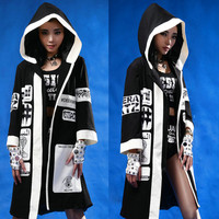 Boxing Women Men Singer Halloween Hooded Loose Trench Outerwear Hip Hop Jazz DJ DS Stage Show Outfits Harajuku Costumes Robe