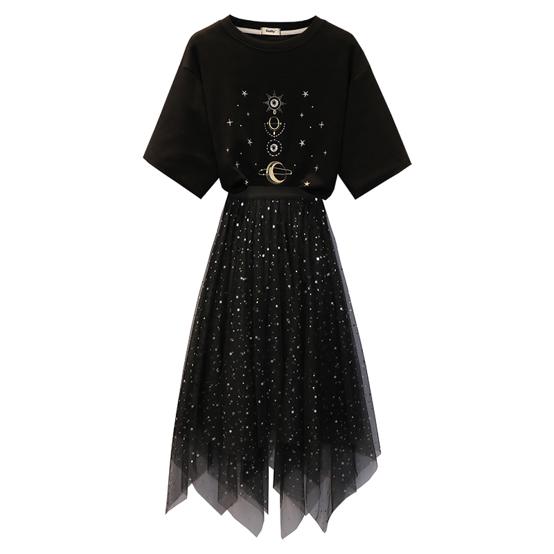Rlyaeiz mode coréenne 2 pièce ensemble femmes Sweat costume 2019 été imprimé t-shirts + paillettes étoiles jupes femme vêtements de sport 4XL