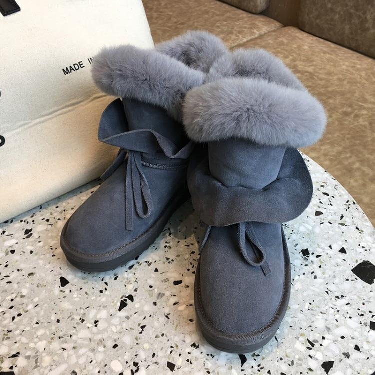 13caaf1a0ad14 2018 En Lapin Chaussures Hiver Chaud Plat Femmes Conception Noir Luxe Plate  Cheville gris Bottes Confort Neige Pxelena forme Fourrure ...