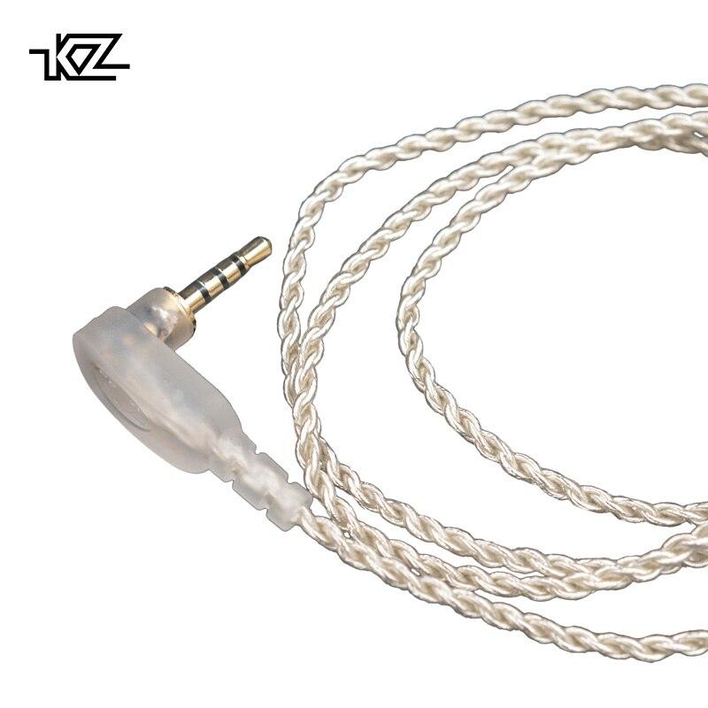 KZ ZS10/ZST/AS10 2.5mm jack cavo bilanciato placcato argento Cuffia aggiornamento filo Degli Auricolari 0.75mm Spille FAI DA TE Staccabile Audio CordES4