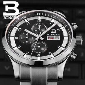Image 2 - שוויץ גברים של שעונים ספיר BINGER שעון גברים מותג יוקרה קוורץ זכר שעון עמיד למים זוהר שעוני יד הכרונוגרף