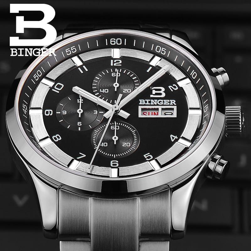 Image 2 - Switzerland Mens Watches Sapphire BINGER Watch Men Brand Luxury  Quartz Male Watch Waterproof Luminous Wristwatches ChronographQuartz  Watches