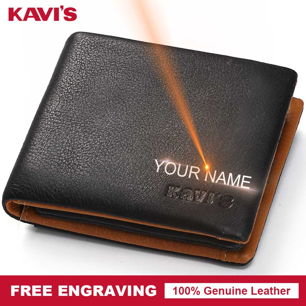 KAVIS Men Genuine leather Wallet Coin Purse Male Cuzdan Walet Portomonee Vallet PORTFOLIO Card Holder Perse DIY Gift for Man