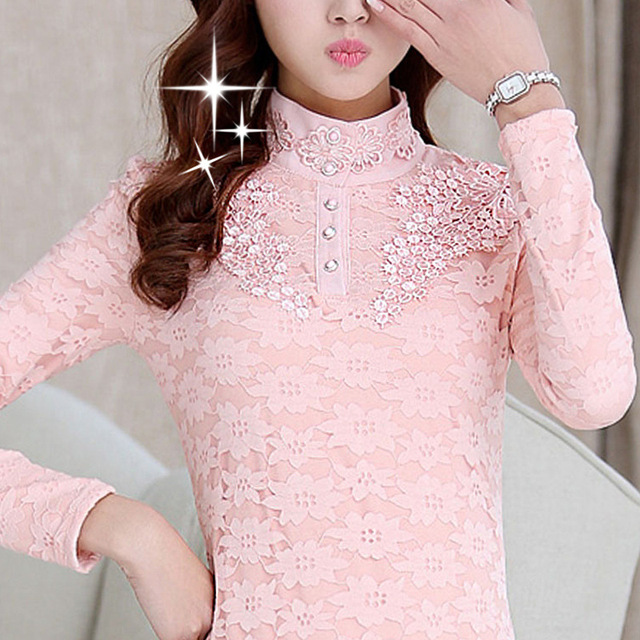 Women Bottoming Blouse Female High Collar Lace Shirt Long-sleeved Tops Plus Size 3XL 1
