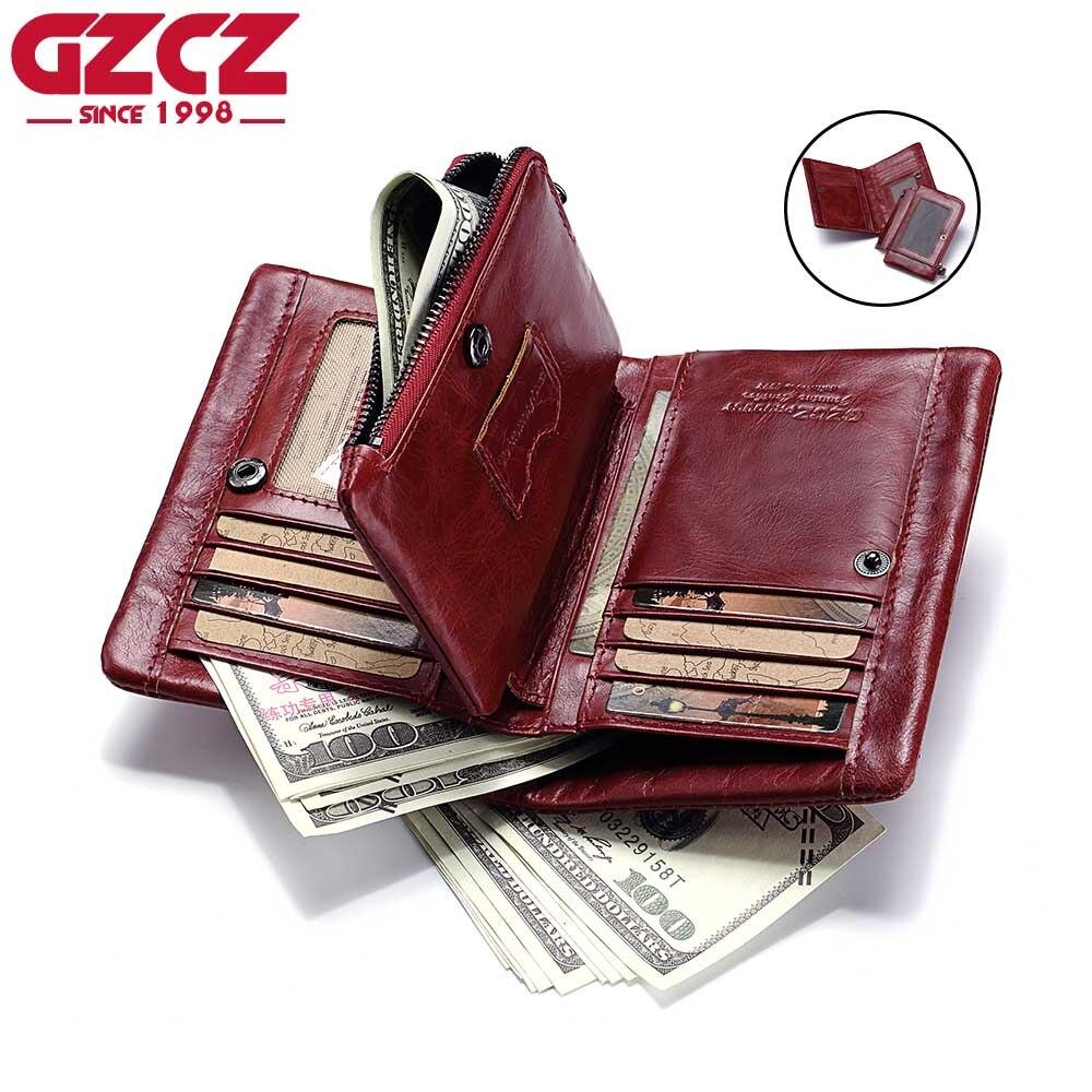 GZCZ Women Wallet Female Zipper Design Genuine Leather Woman Walet Female Coin Purse Large Capacity Vintage Portomonee Rfid