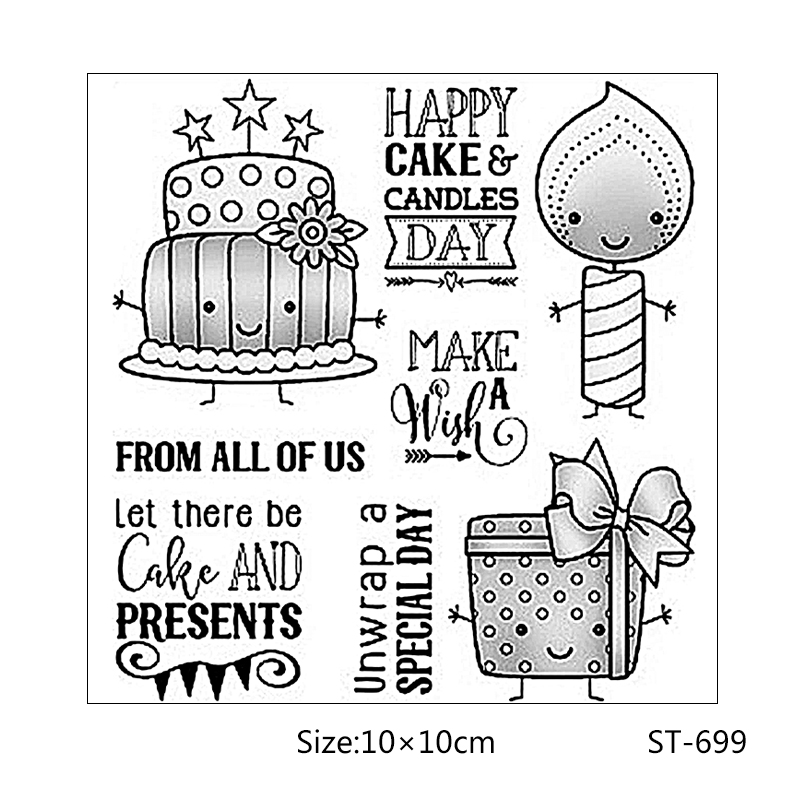 AZSG Birthday cake gift candle style Clear Stamps Seal For DIY Scrapbooking Card Making Album Decorative Rubber Stamp Crafts in Stamps from Home Garden