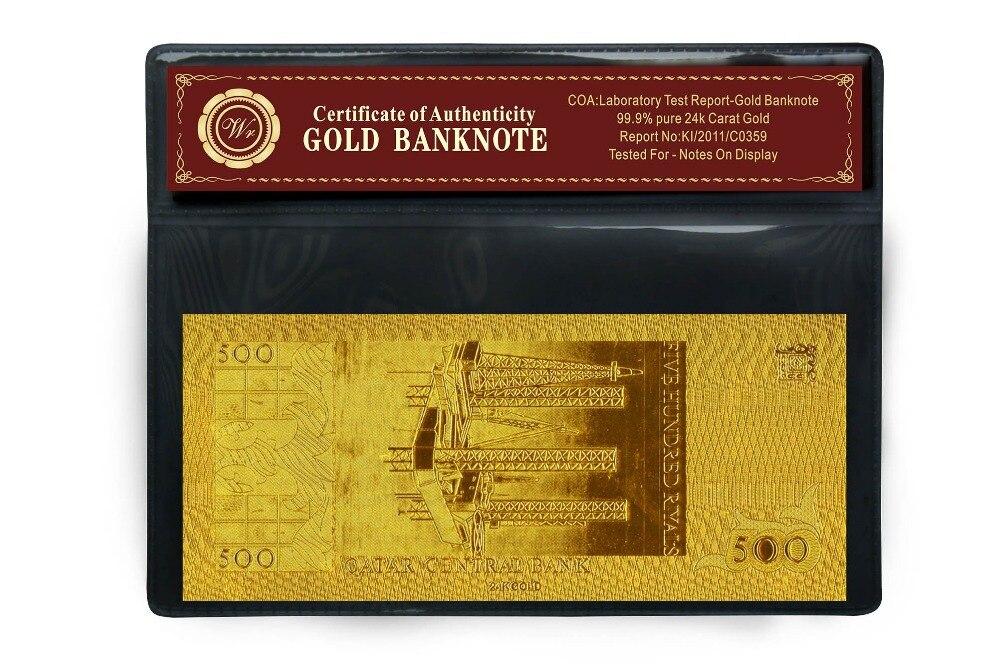 Qatar 500 Riyal Gold Banknote mit Goldbeschichtung und - Wohnkultur - Foto 4