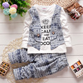 Spring autumn children clothing set 2016 new fashion baby boys tide shirt fake two-pieces clothes suit kids boys outfits suit