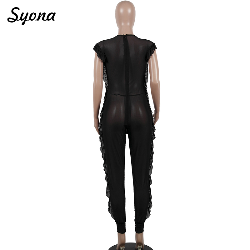 Sexy WOMEN Mesh JUMPSUIT ROMPERS Transparent See Through One Piece Outfit Nightclub Ruffle Side Overalls Sheer Plus Size 2XL JUM 4