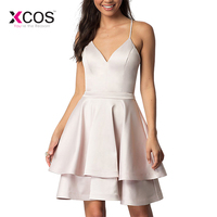 XCOS Pale Pink Short Junior 8th Grade Graduation Dresses 2019 Cheap Halter Satin Lace Cut Out Back Homecoming Dress
