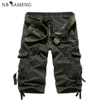 2017 New Mens Summer 3 4 Three Quarter Pants Cotton Multi Pockets Military Tactical Camo Casual